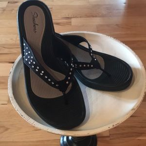 Skechers Black wedge sandals w/rhinestone detail